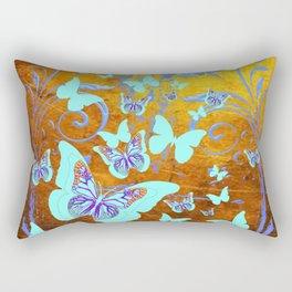 Coffee Brown Celadon Color Butterflies Abstract & Yellow Rectangular Pillow
