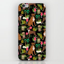 Boxer tiki tropical dog pattern modern pet friendly pet pattern dog breeds iPhone Skin