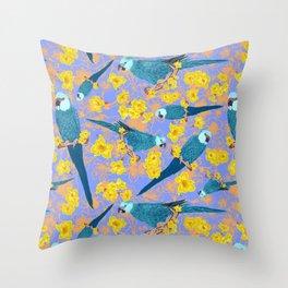Spix Macaw Flower Power Throw Pillow