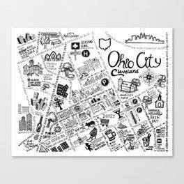 Ohio City Map Canvas Print