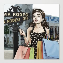 Retro Pinup Girl Shopping on Rodeo Drive Canvas Print
