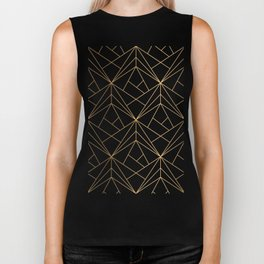 Geometric Gold Pattern With White Shimmer Biker Tank