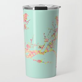 Love Birds on Branch Vintage Floral Shabby Chic Pink Yellow Mint Travel Mug