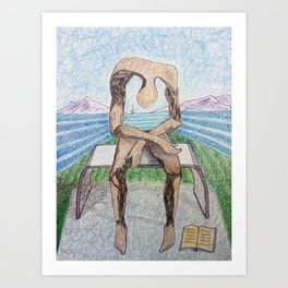 fan art: melancholy sculpture with a dropped open book and sea view Art Print