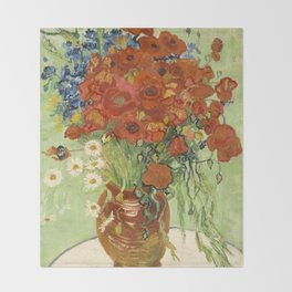 "Vincent van Gogh ""Still Life, Vase with Daisies, and Poppies"" Throw Blanket"