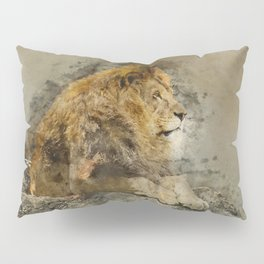 Lion on the rocks Pillow Sham