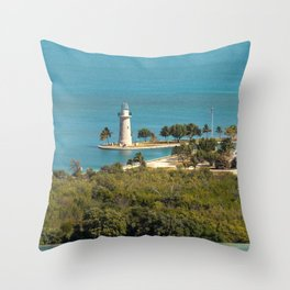 Boca Chita Key and The Miami Skyline Throw Pillow