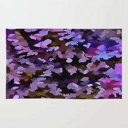 Foliage Abstract In Blue, Pink and Sienna Rug