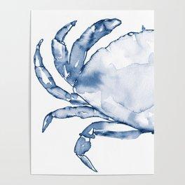 Coastal Crab in Watercolor, Navy Blue (Left Half in Set) Poster