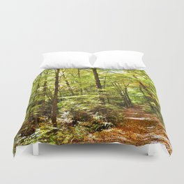 Sunlit Forest in Autumn Duvet Cover