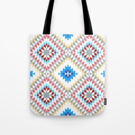 Colorful patchwork mosaic oriental kilim rug with traditional folk geometric ornament Tote Bag