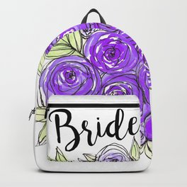 Bride Wedding Bridal Purple Violet Lavender Roses Watercolor Backpack
