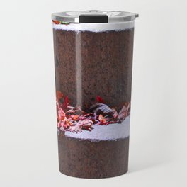 Red Leafs On Stairs Travel Mug