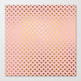 Gold and pink sparkling and shiny Hearts pattern Canvas Print