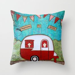 Vintage Camper Red Throw Pillow