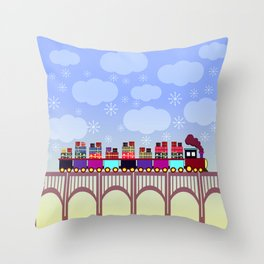 A train with Christmas gifts Throw Pillow
