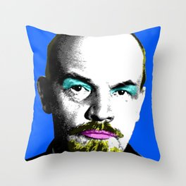Ooh Mr Lenin - Blue Throw Pillow