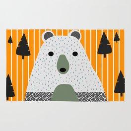 Cute bear, stripes and a fir forest Rug