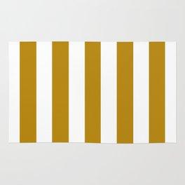 Dark goldenrod brown - solid color - white vertical lines pattern Rug