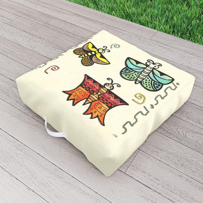 Zuni Butterfly Folk Art Outdoor Floor Cushion