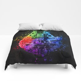 Millennium Falcon Splash Painting - Star ship Wall Art Comforters