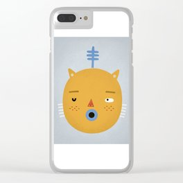 Cat with Fern Clear iPhone Case