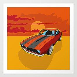 Red Camaro at Sunset Art Print