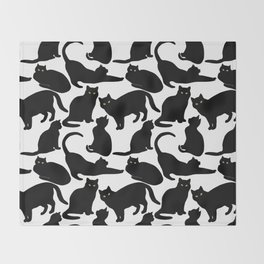 Black Cats Throw Blanket