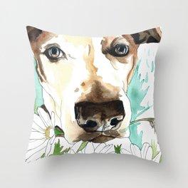 Watercolor Wildflowers & her Bestie Throw Pillow