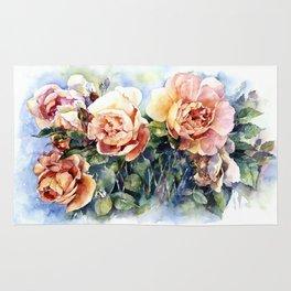 Watercolor yellow orange roses flowers Rug