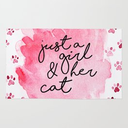Just a Girl & her Cat // Black+Pink // Watercolor Paws Rug