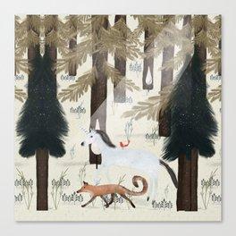 the fox and unicorn Canvas Print