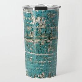 Rustic Wood Turquiose Paint Weathered Travel Mug