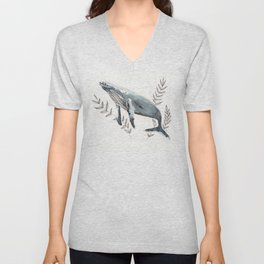 Humpback Whale Watercolor Unisex V-Neck