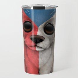 Cute Puppy Dog with flag of Czech Republic Travel Mug