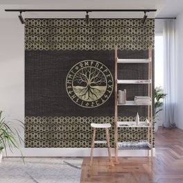 Tree of life  -Yggdrasil and  Runes on wooden texture Wall Mural
