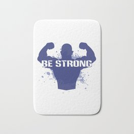 Healthy Lifestyle Be strong motivation art for sport and fitness fans logo of a man in blue & white Bath Mat