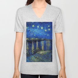 Starry Night Over the Rhone by Vincent van Gogh Unisex V-Neck