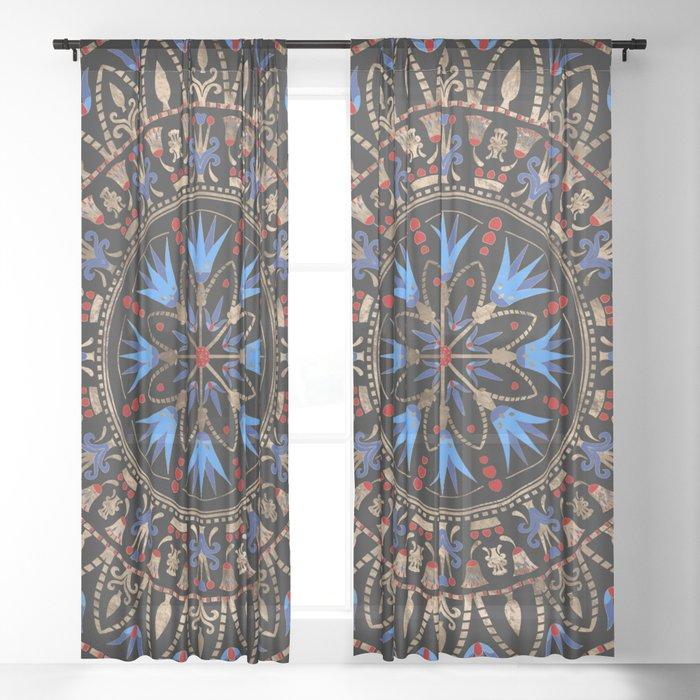 Circular Egyptian Ornament #1 Sheer Curtain