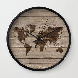 Rustic world map Wall Clock