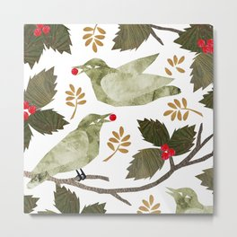 Birds and Holly in Greens, Golds and Red Metal Print