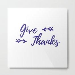 Give Thanks - White Plum Metal Print