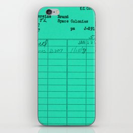 Library Card 797 Turquoise iPhone Skin