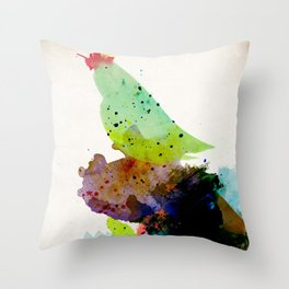 Bird standing on a tree Throw Pillow