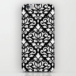 Scroll Damask Large Pattern White on Black iPhone Skin