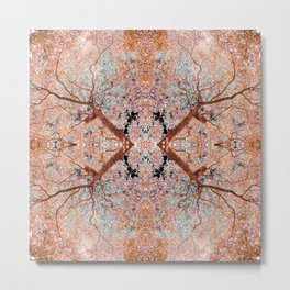The Lungs of the Earth - Gold, Pink &Turquoise Metal Print