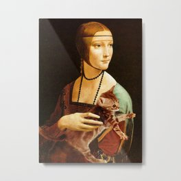 Lady with a Kitten Metal Print