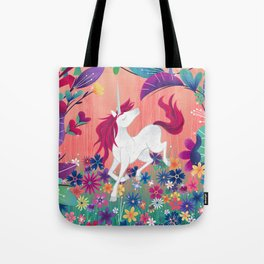 Floral Frolic Unicorn Tote Bag