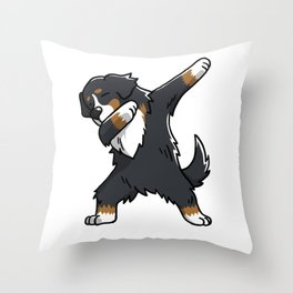 Funny Bernese Mountain Dog Dabbing Throw Pillow