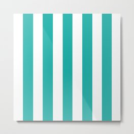 Light sea green - solid color - white vertical lines pattern Metal Print